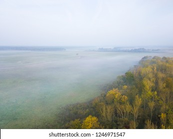 Aerial view of Bavarian landscape with mist and colourful trees