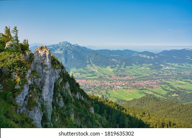 Aerial view of the bavarian town Lenggries from the mountain Geierstein in the late summer. Lenggries is a municipality in Bavaria and popular for hiking and vacation.