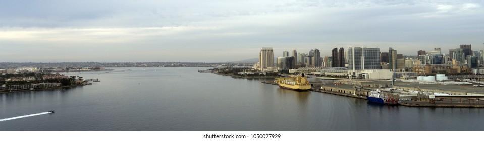 Aerial view of the bay between Coronado and San Diego southern California USA