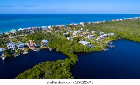 Aerial view of the bay in Bonita Springs, Florida the other the Gulf of Mexico and beach in the background