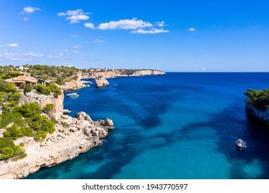 Aerial view, bay of Cala Llombards, Santanyi, Mallorca, Balearic Islands, Spain,