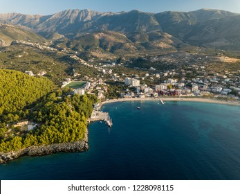 Aerial view of bay in Himara (Albania).  Seaside town in Vlora, Albanian Riviera.