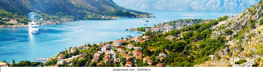 Aerial view of Bay of Kotor, Montenegro. Giant cruise liner in Boka Kotorska