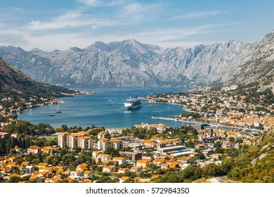 Aerial view of the bay of Kotor, Montenegro