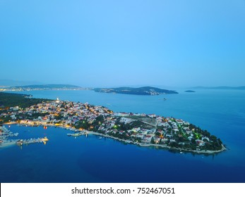 Aerial view of the bay at Seget Vranjica at dusk