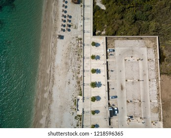 Aerial view of beach along Albanian Riviera