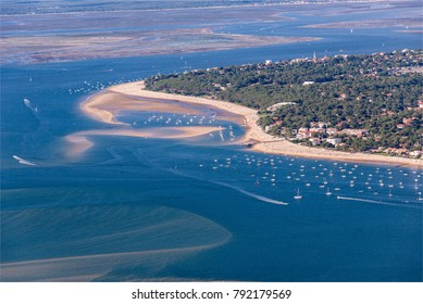 aerial view of the beach of Arcachon in the Bassin d'Arcachon in France
