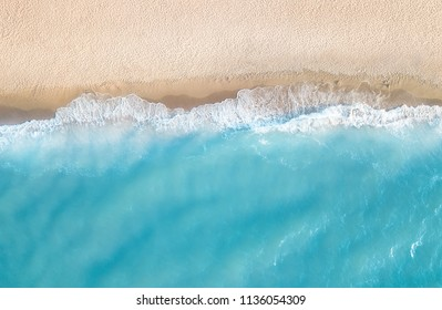 Aerial view at the beach. Beautiful natural seascape at the summer time