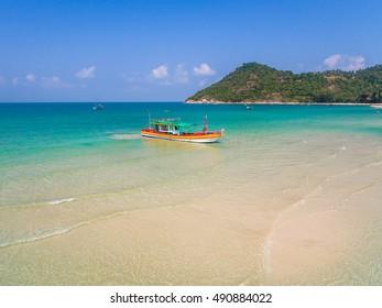 Aerial view of beach and boats Koh Phangan, Thailand