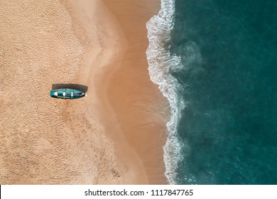 Aerial view of a beach in Cape May, New Jersey, USA with a lifeguard boat