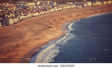 Aerial view of beach and Nazaré city Portugal