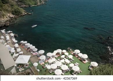 aerial view of a beach club