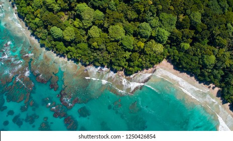 Aerial View from Beach in Costa Rica at the Caribbean between Puerto Viejo and Manzanillo
