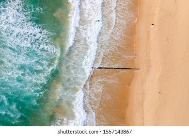 Aerial view of beach in early morning light, a surfer enters the water