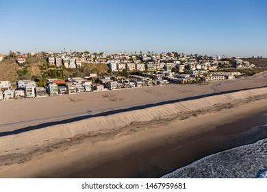 Aerial view of beach view homes in the Playa Del Rey neighborhood of Los Angeles, California.