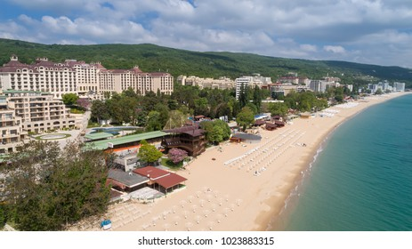 Aerial view of the beach and hotels in Golden Sands