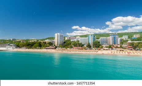 Aerial view of the beach and hotels in Golden Sands. Popular summer resort near Varna, Bulgaria