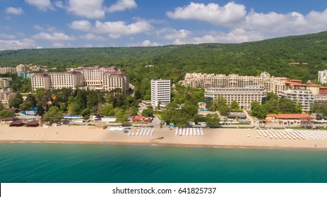 Aerial view of of the beach and hotels in Golden Sands, Zlatni Piasaci. Popular summer resort near Varna, Bulgaria