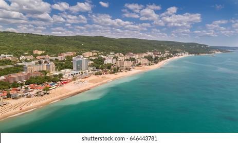 Aerial view of the beach and hotels in Golden Sands, Zlatni Piasaci. Popular summer resort near Varna, Bulgaria