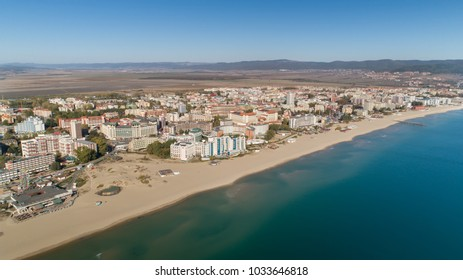 Aerial view of the beach and hotels in Sunny Beach, Bulgaria. Sunny Beach (Slanchev Bryag) is a major seaside resort on the Black Sea coast of Bulgaria, near Burgas