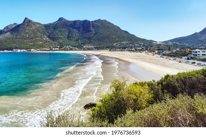 Aerial view of the beach in Hout Bay, Cape Town, South Africa.