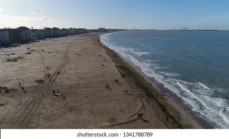 Aerial view of beach of Knokke-Heist is municipality in the Belgian province of West Flanders and is located along the North Sea in a polder area and is best-known and most affluent seaside resort