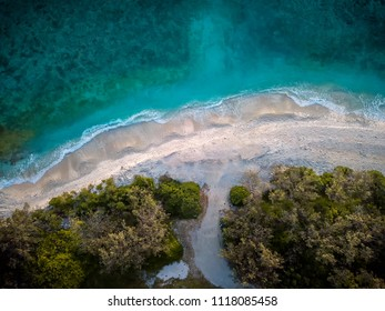 Aerial view of the beach of Lady Elliot Island near the lighthouse at sunset. The island is the first island of the great barrier reef.