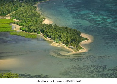 Aerial view of beach from Le Morne Brabant mountain in Mauritius