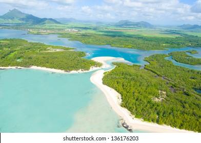 Aerial view of beach in Mauritius - bird's eye view
