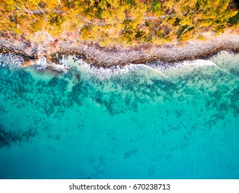An aerial view of the beach at Noosa on a clear day on the Sunshine Coast in Australia