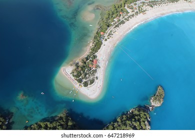 Aerial view of beach at Olu Deniz, Turkey