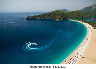 Aerial view of the beach of Oludeniz, Fethiye, Turkey