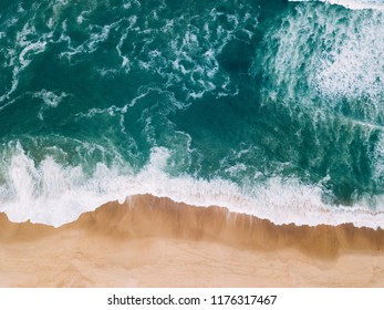Aerial view to Beach on the Atlantic Ocean near Seignosse (France)
