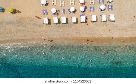 Aerial view at beach at Pyrgos Chiliadous at Chalkidiki, Greece