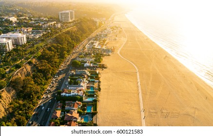 Aerial view of the beach in Santa Monica, CA