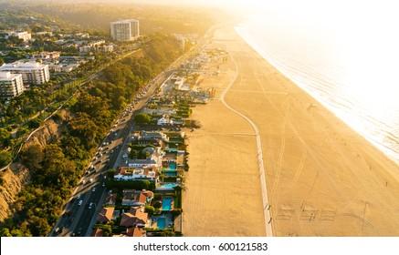Aerial view of the beach in Santa Monica, CA