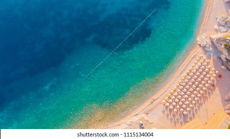 Aerial view of the beaches of the Adriatic coast in Montenegro