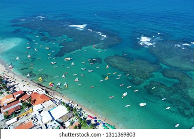Aerial view of beaches of Harbor of Chickens's city, tourism point of Brazil. Great beach scene. Fantastic landscape.Aerial view of Porto de Galinhas beaches, Pernambuco, Brazil: unique experience of