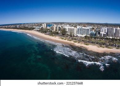 Aerial view of beachfront hotels on sunrise, Mooloolaba, Queensland, Australia