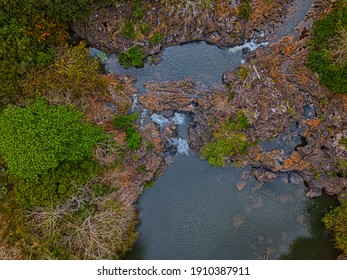 Aerial view of 'Beau Champ' waterfall hidden in the south east of Mauritius island