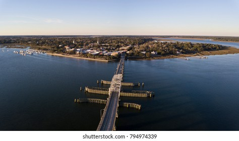 Aerial view of Beaufort, South Carolina and approaching swing bridge.