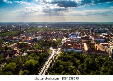 Aerial view in a beautifu cloudy summer day above Timisoara's historical center, Romania taken by a professional drone