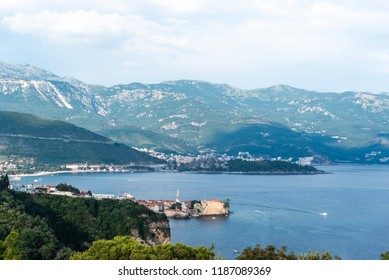 aerial view of beautiful adriatic sea and old town of Budva in Montenegro