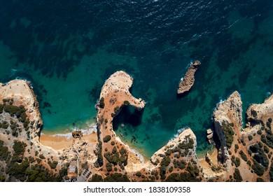 Aerial view of the beautiful Albandeira Beach (Praia da Albandeira) in Lagoa, Algarve, Portugal