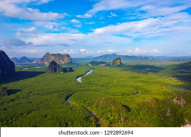 Aerial view, Beautiful view at Ao Phang Nga National Park, Thailand