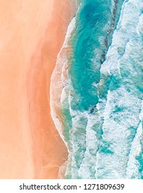 Aerial View of Beautiful Australian Beach Along the Great Ocean Road, Victoria, in Summer