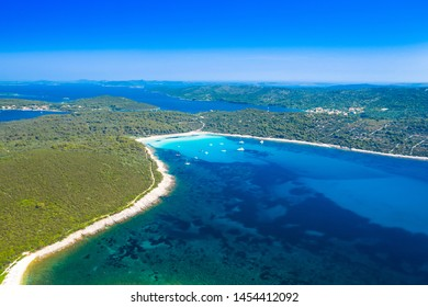 Aerial view of beautiful azure turquoise lagoon bay on Sakarun beach on Dugi Otok island, Croatia, beautiful seascape and popular tourist destination