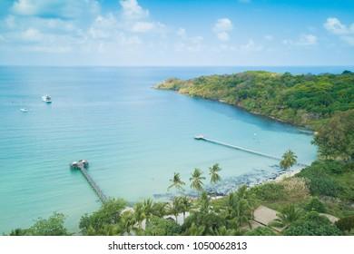 "Aerial view of Beautiful ""Bang-Bao Bay"" tropical beach in Koh kood or Ko Kut, Thailand."
