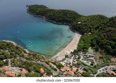Aerial view of a beautiful beach called Fetovaia in Elba island, Tuscany Italy