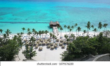 Aerial view of a beautiful beach resort in La Romana, Dominican Republic
